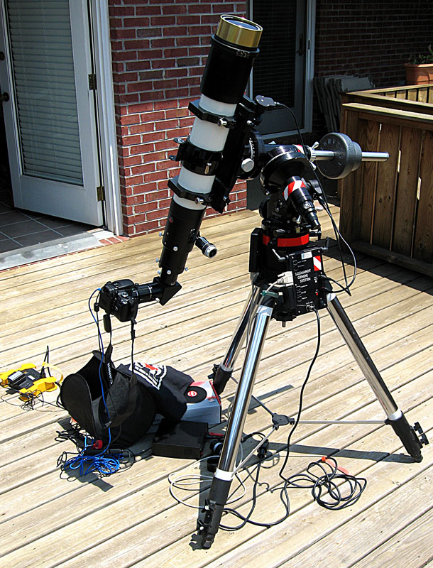 Televue TV102iis Refractor with Coronado Solarmax 90mm h-alpha solar filter, Canon 400D (Rebel XTi) DSLR on Losmandy G11 mount and Meade Tripod.