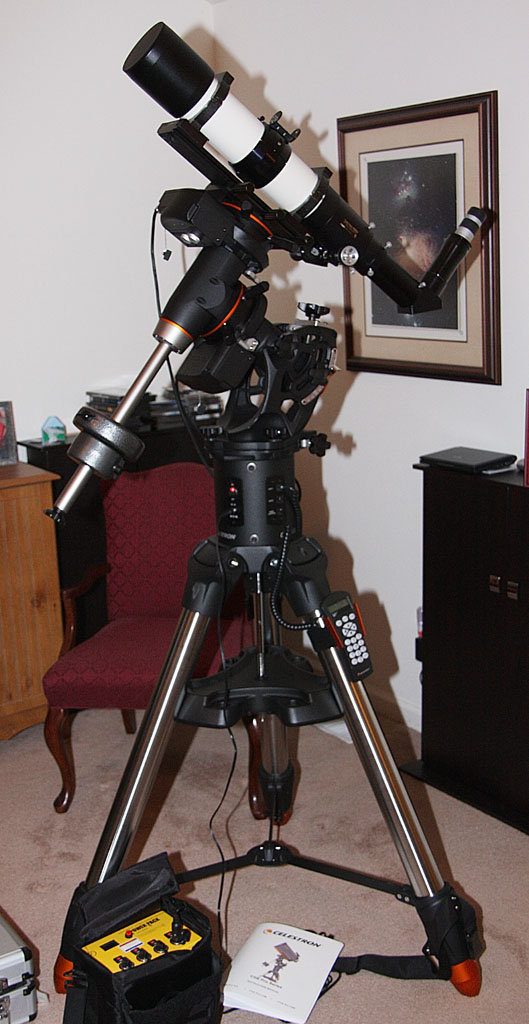 Televue 102iis Refractor mounted on a Celestron CGE Pro German Equatorial Mount.