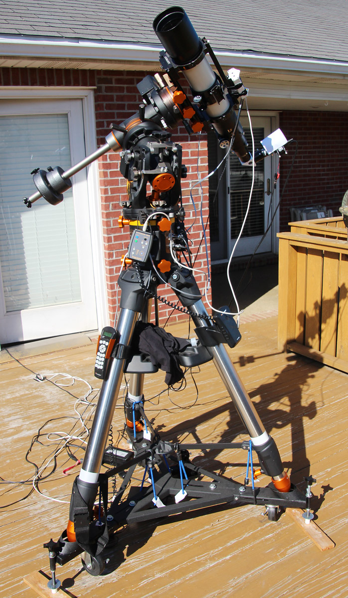 Televue TV102iis Refractor with Starlight Instruments motorized focuser, Coronado Solarmax 90mm h-alpha solar filter, Point Grey Research Grasshopper 3 camera, Hinode Solar Autoguider, on a Celestron CGE Pro mount.