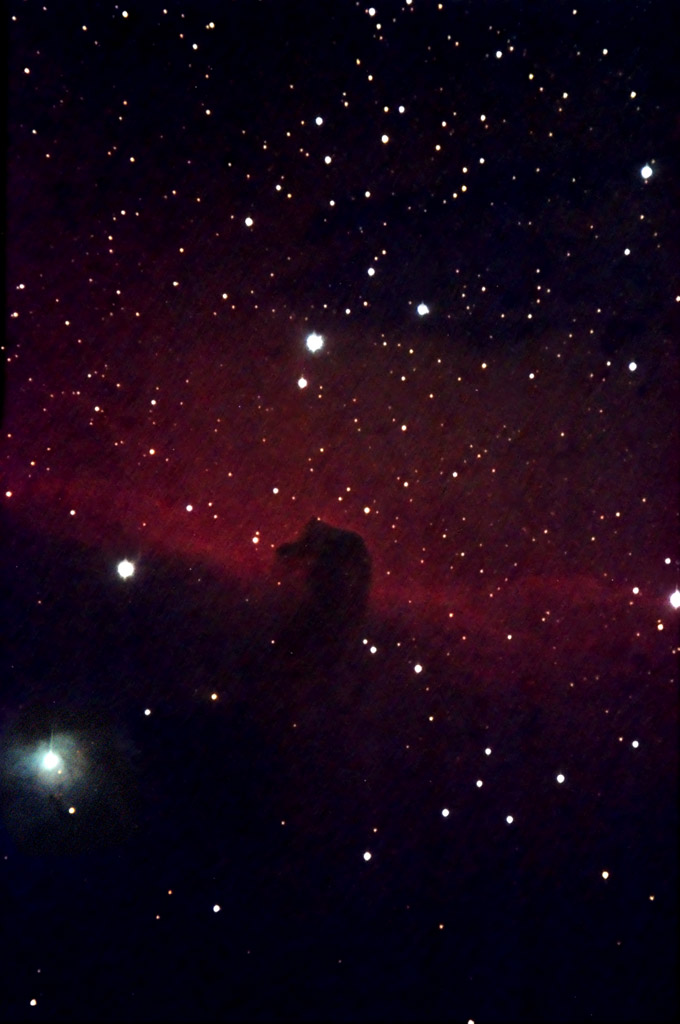 Horsehead Dark Nebula (Barnard 33), taken October 25, 2008 with a Orion Starshoot Pro CCD through a Televue 102iis refractor and 2X Powermate on a G11 Mount