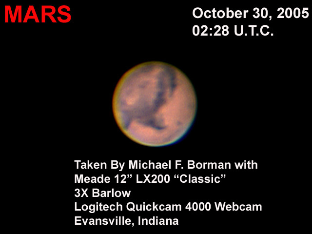 Mars in 2003, taken with a Quickcam 4000 webcam and 12