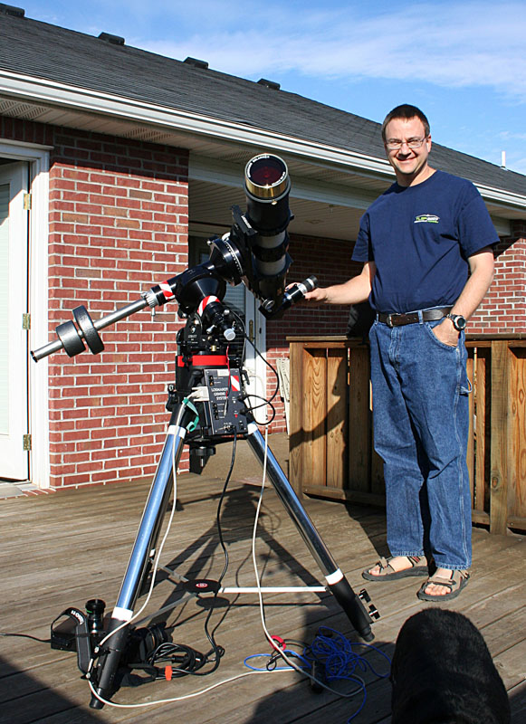 Mike Borman and Televue TV102iis Refractor with Coronado Solarmax 90mm h-alpha solar filter, Canon 400D (Rebel XTi) DSLR on Losmandy G11 mount and Meade Tripod.