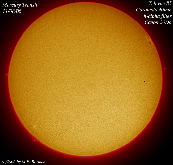 Transit Of The Planet Mercury Across The Sun in h-alpha 11/08/06