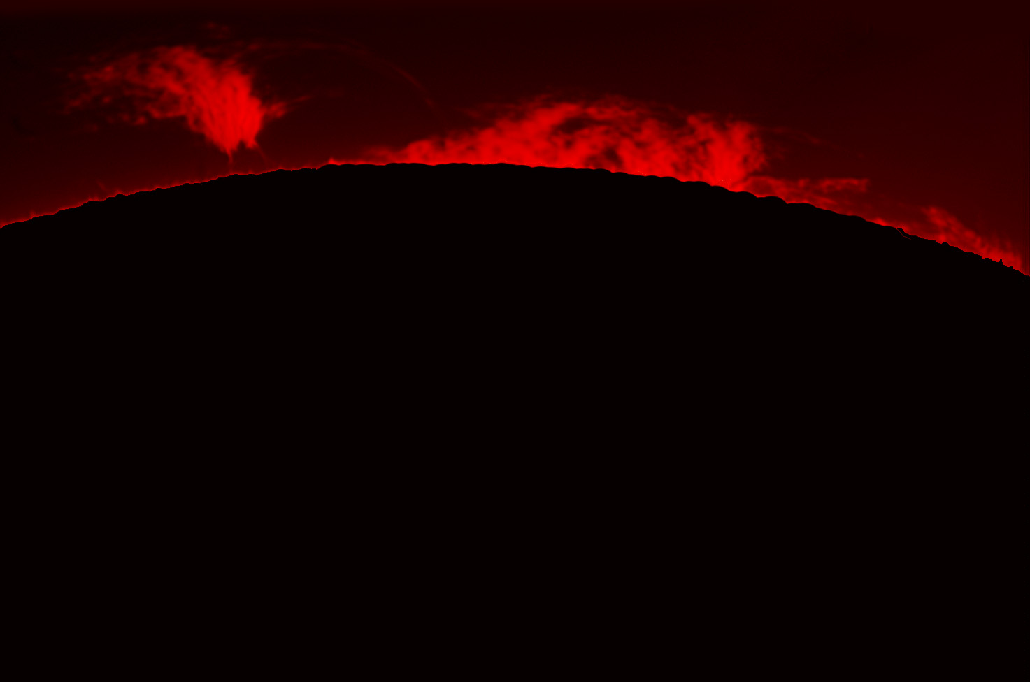 Prominences in h-alpha 01/08/2012