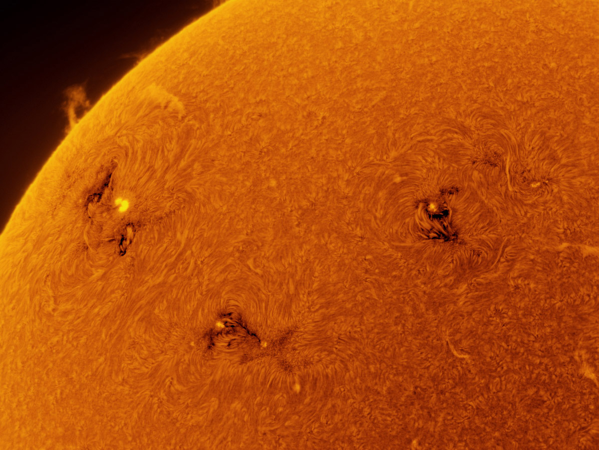 Sunspots 1743, 1744, and 1745 in h-alpha (inverted) 05/12/2013