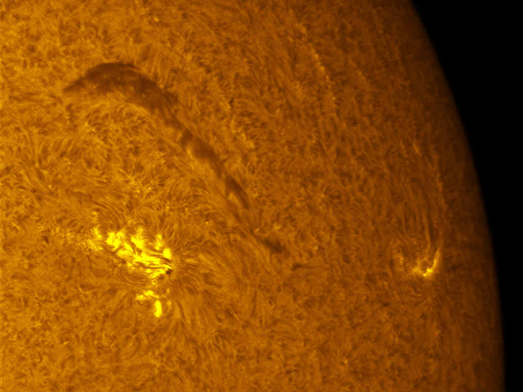 Sunspot 1242 and 1244 in h-alpha 7/03/2011