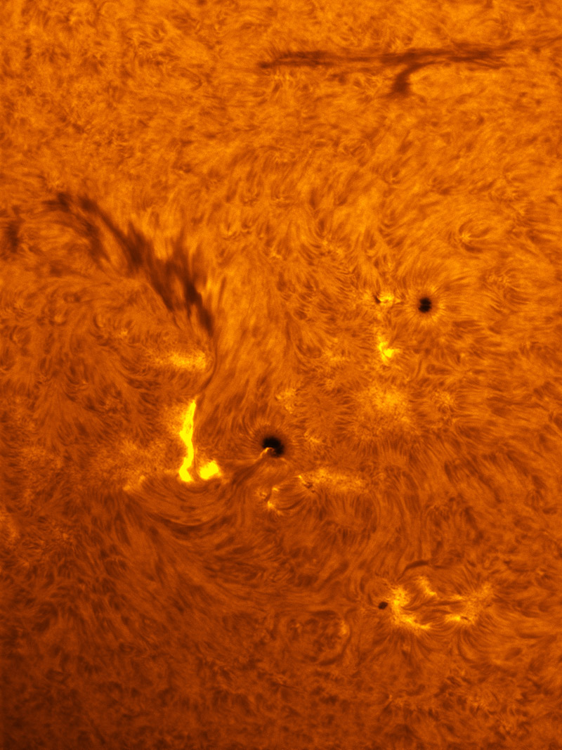 Sunspots 1529, 1530 and 1533 in h-alpha 07/28/2012