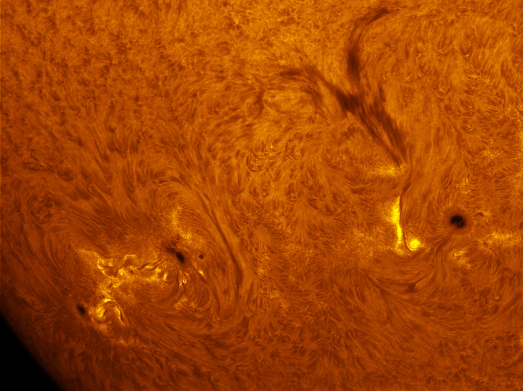 Sunspots 1530 and 1532 in h-alpha 07/28/2012