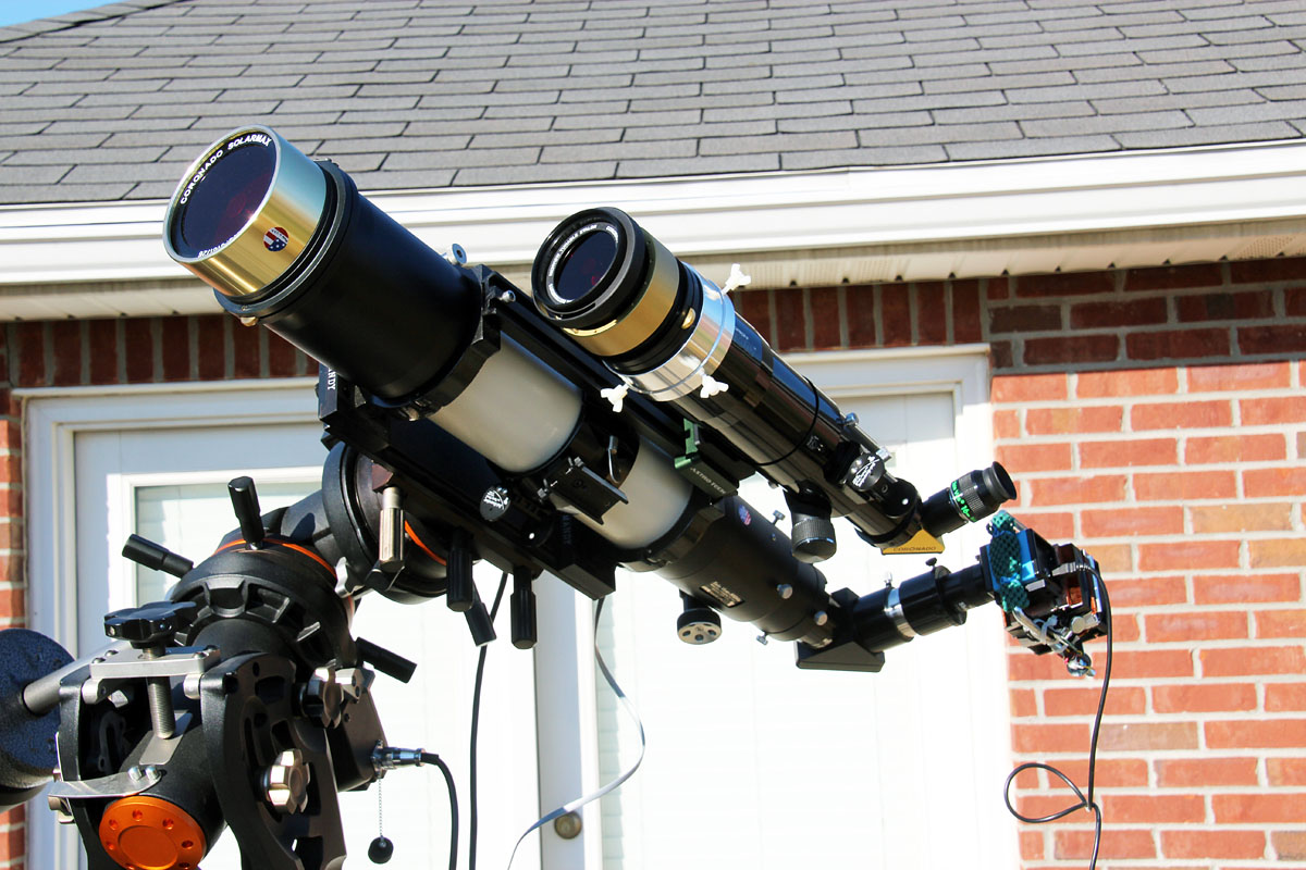 Televue TV102iis Refractor with Starlight Instruments motorized focuser, Coronado Solarmax 90mm h-alpha solar filter, and Imaging Source DMK41AU02.AS camera. Orion 72mm EON refractor with Coronado SM60 h-alpha filter. Both scopes on a Celestron CGE Pro mount.