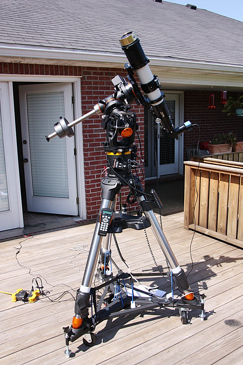 Televue 102iis Refractor with Coronado SM90 h-alpha solar filter and DMK41AU02.AS camera, mounted on a Celestron CGE Pro German Equatorial Mount.